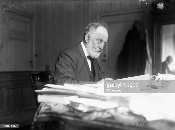 Writer WT Stead at a Peace Conference at The Hague. WT Stead was an English journalist and editor. He died on the RMS Titanic when it sank in April...