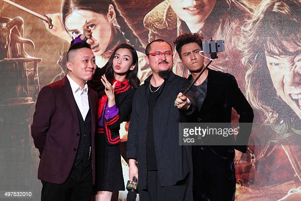 Writer Zhang Muye actress and model Angelababy director Wu Ershan and actor Chen Kun attend a press conference of new film The Ghouls directed by Wu...