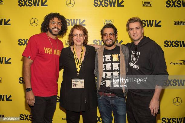 Writer/actor Daveed Diggs Director of SXSW Film Janet Pierson director Carlos Lopez Estrada and writer/actor Rafael Casal attend the premiere of...