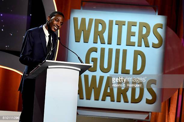 Writer/actor Jerrod Carmichael speaks onstage during the 2016 Writers Guild Awards at the Hyatt Regency Century Plaza on February 13 2016 in Los...