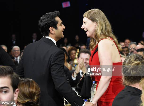 Writeractor Kumail Nanjiani and writer Emily V Gordon attend The 23rd Annual Critics' Choice Awards at Barker Hangar on January 11 2018 in Santa...
