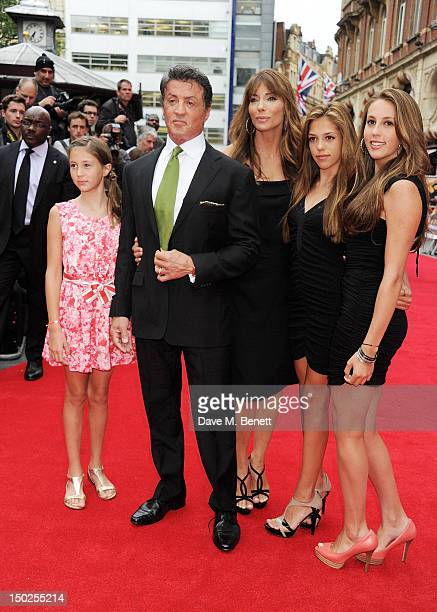 Writer/Actor Sylvester Stallone wife Jennifer Flavin and daughters attend the UK Film Premiere of 'The Expendables 2' at Empire Leicester Square on...