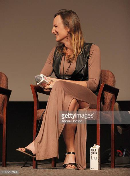Writer/actress Jen Richards speaks onstage during the 'Her Story A Web Series Case Study' portion of the Film Independent Forum at the DGA Theater on...