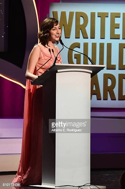 Writer/actress Kristen Schaal speaks onstage during the 2016 Writers Guild Awards at the Hyatt Regency Century Plaza on February 13 2016 in Los...