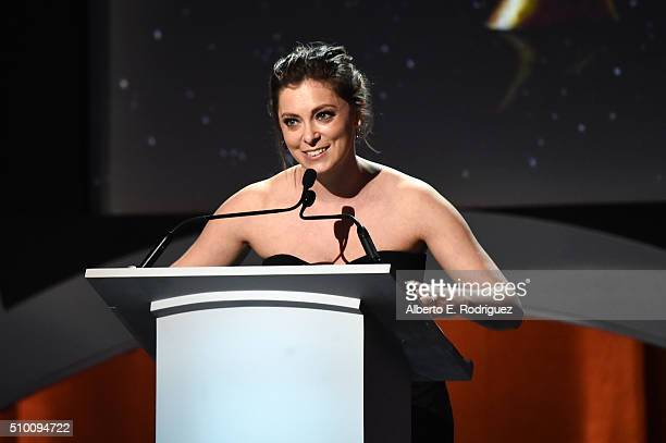 Writer/actress Rachel Bloom speaks onstage during the 2016 Writers Guild Awards at the Hyatt Regency Century Plaza on February 13 2016 in Los Angeles...