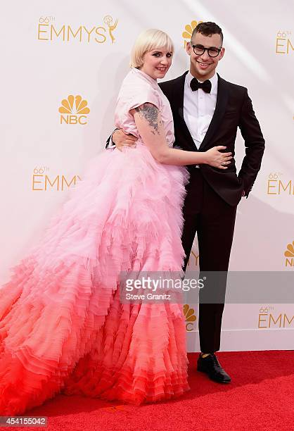 Writeractressproducer Lena Dunham and musician Jack Antonoff attend the 66th Annual Primetime Emmy Awards held at Nokia Theatre LA Live on August 25...