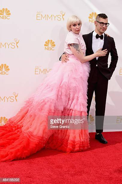 Writer-actress-producer Lena Dunham and musician Jack Antonoff attend the 66th Annual Primetime Emmy Awards held at Nokia Theatre L.A. Live on August...