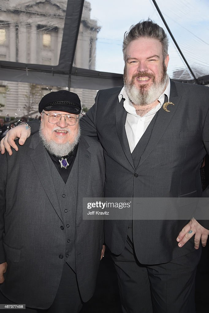 Writer/co-executive producer George R.R. Martin and actor Kristian Nairn attend HBO's 'Game of Thrones' Season 5 Premiere and After Party at the San Francisco Opera House on March 23, 2015 in San Francisco, California.