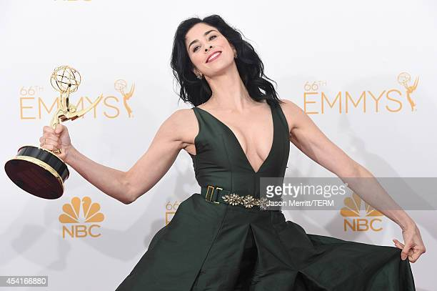 WriterComedian Sarah Silverman winner of the Outstanding Writing for a Variety Special Award for 'Sarah Silverman We Are Miracles' poses in the press...