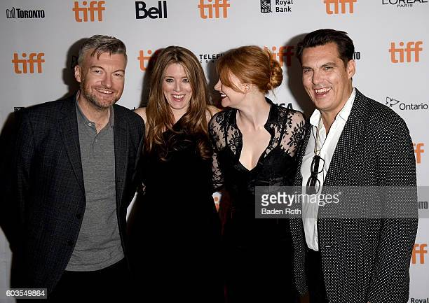 Writer/creator Charlie Brooker executive producer Annabel Jones actress Bryce Dallas Howard and director Joseph Wright attend the 'Black Mirror'...