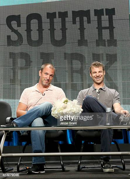 Writer/creators Trey Parker and Matt Stone speak onstage during the 'South Park' panel at Hulu's TCA Presentation at The Beverly Hilton Hotel on July...