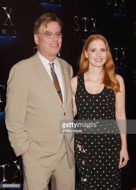 Writer/director Aaron Sorkin and actress Jessica Chastain at CinemaCon 2017 The State of the Industry Past Present and Future and STX Films...