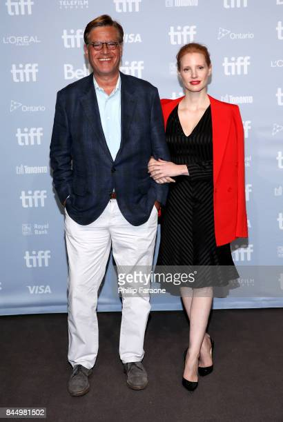 Writer/director Aaron Sorkin and actress Jessica Chastain attend 'Molly's Game' press conference during 2017 Toronto International Film Festival at...