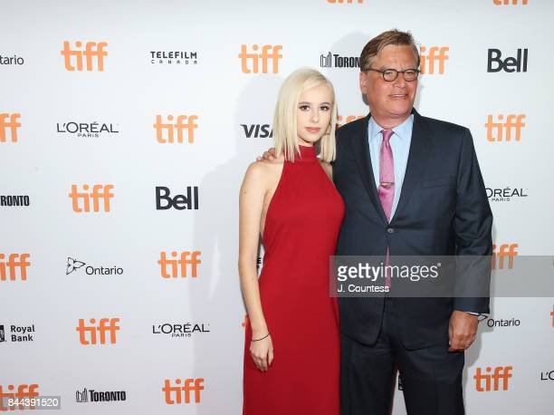"""Writer/director Aaron Sorkin and daughter Roxy attend the premiere of """"Molly's Game"""" during the 2017 Toronto International Film Festival at The Elgin..."""