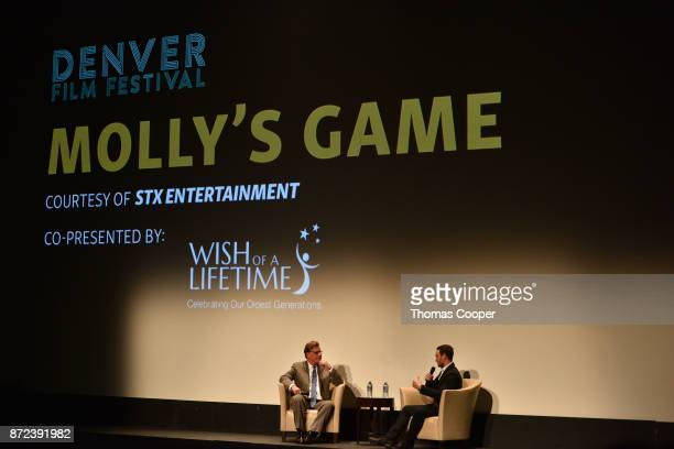 Writer/director Aaron Sorkin and founder of Wish of a Lifetime Jeremy Bloom speak during a discussion of 'Molly's Game' at the 40th Denver Film...