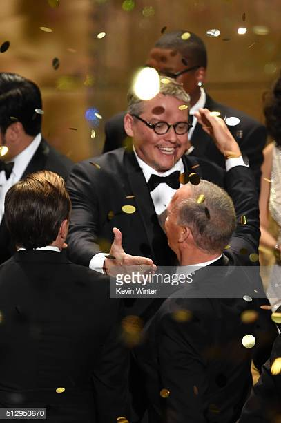 Writerdirector Adam McKay winner of Best Adapted Screenplay for 'The Big Short' celebrates onstage during the 88th Annual Academy Awards at the Dolby...