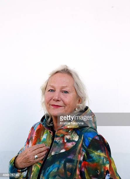 Writer/director Agnès B poses for a portrait during the Saint Petersburg International Media Forum at the Old Stock Exchange on October 3 2014 in...