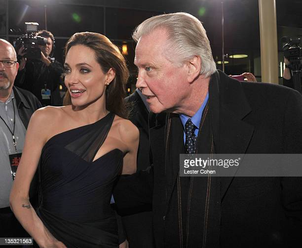 Writer/Director Angelina Jolie and actor Jon Voight arrives at the In the Land of Blood and Honey premiere held at ArcLight Cinemas on December 8...