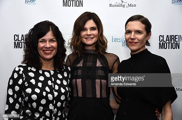 Writer/director Annie J Howell actress Betsy Brandt and writer/director Lisa Robinson arrive at the premiere of Breaking Glass Pictures' 'Claire In...