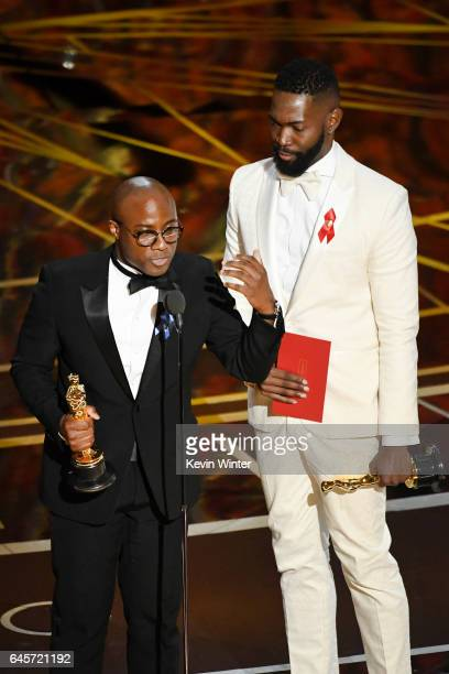 Writer/director Barry Jenkins and writer Tarell Alvin McCraney accept Best Adapted Screenplay for 'Moonlight' onstage during the 89th Annual Academy...
