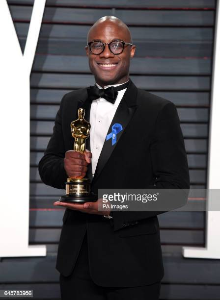Writer/director Barry Jenkins with his Oscar for Best Adapted Screenplay for Moonlight arriving at the Vanity Fair Oscar Party in Beverly Hills, Los...