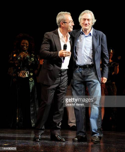 Writer/Director Ben Elton and producer Robert De Niro bow at the curtain call during the We Will Rock You 10 Year Anniversary Celebration performance...