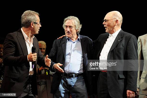Writer/Director Ben Elton producer Robert De Niro and Queen manager Jim Beach bow at the curtain call during the We Will Rock You 10 Year Anniversary...