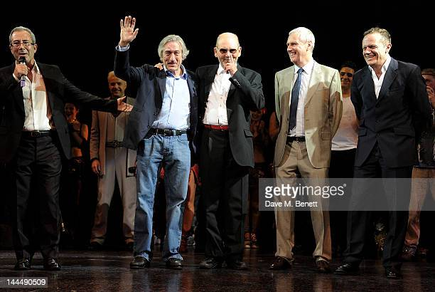 Writer/Director Ben Elton producer Robert De Niro Queen manager Jim Beach and producer Phil McIntyre bow at the curtain call during the We Will Rock...
