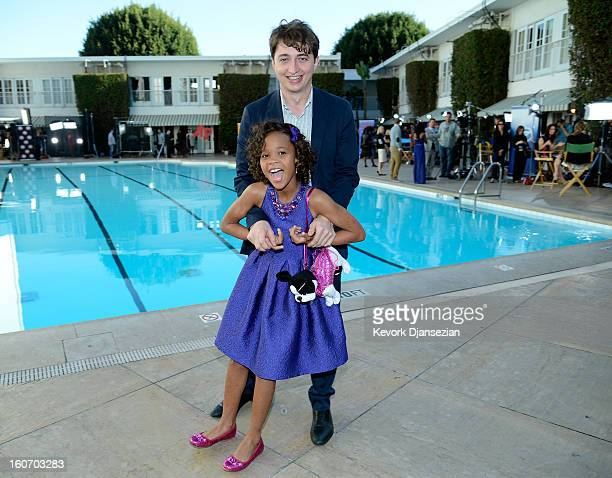 Writer/director Benh Zeitlin and actress Quvenzhané Wallis pose for a portrait during the 85th Academy Awards Nominations Luncheon at The Beverly...