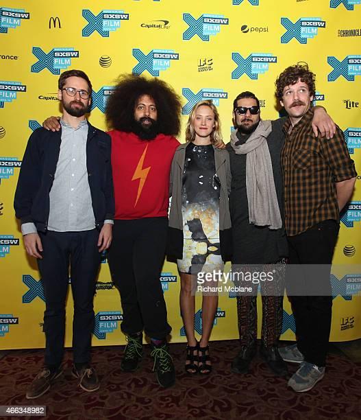 Writer/director Benjamin Dickinson comedian Reggie Watts and actors Alexia Rasmussen Himanshu Suri and Dan Gill attend the premiere of 'Creative...