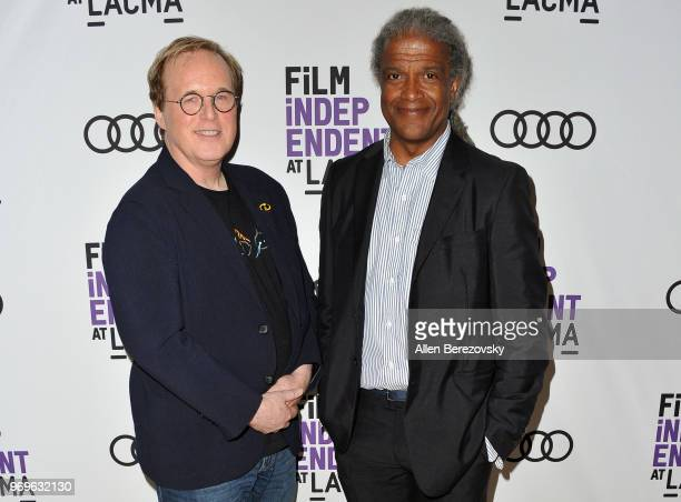 Writer/director Brad Bird and Elvis Mitchell attend a Screening and QA of The Incredibles 2 presented by Film Independent at Bing Theater At LACMA on...