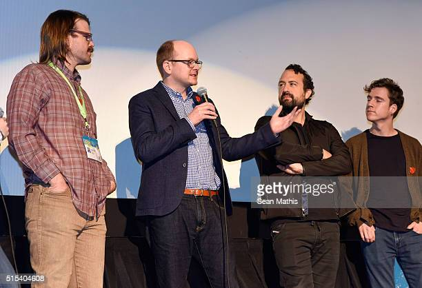 """Writer/director Carson D. Mell, actors Mark Proksch, Steve Zissis and Dax Flame speak onstage at the premiere of """"Another Evil"""" during the 2016 SXSW..."""