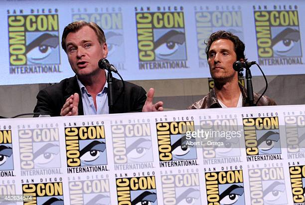 Writer/director Christopher Nolan and actor Matthew McConaughey attend the Paramount Studios presentation during Comic-Con International 2014 at the...