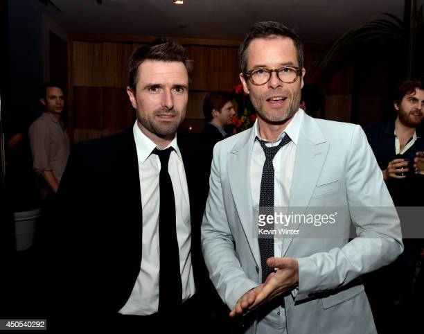 Writer/director David Michod and actor Guy Pearce pose at the after party for the premiere of A24's The Rover at The W Hotel on June 12 2014 in Los...
