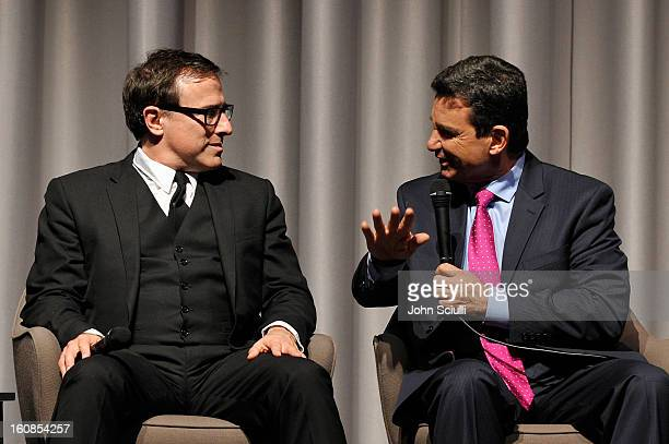 Writer/Director David O Russell and Dr Bruce Hensel discuss removing the stigma of mental illness at Museum Of Tolerance on February 6 2013 in Los...