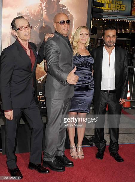 Writer/director David Twohy, actors Vin Diesel, Katee Sackoff and Jordi Molla arrive at the Los Angeles premiere of 'Riddick' at the Westwood Village...