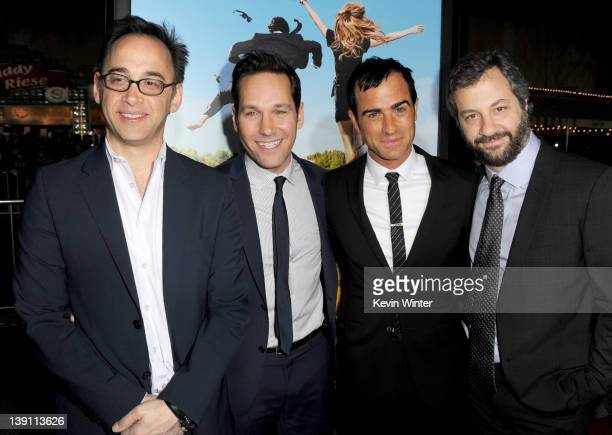 Writer/director David Wain actors Paul Rudd Justin Theroux and producer Judd Apatow arrive at the premiere of Universal Pictures' 'Wanderlust' held...