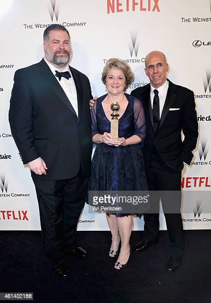 Writer/director Dean DeBlois producers Bonnie Arnold and Jeffrey Katzenberg attend The Weinstein Company Netflix's 2015 Golden Globes After Party...