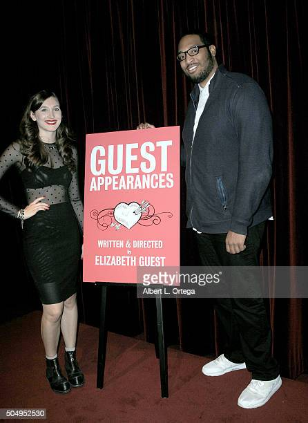 Writer/director Elizabeth Guest and actor Aaron Covington at the Premiere Screening For Guest Appearances held at Soho House on January 13 2016 in...