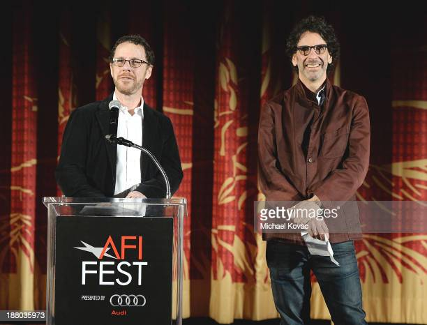Writer/director Ethan Coen and writer/director Joel Coen introduce the AFI FEST 2013 presented by Audi closing night gala screening of 'Inside Llewyn...