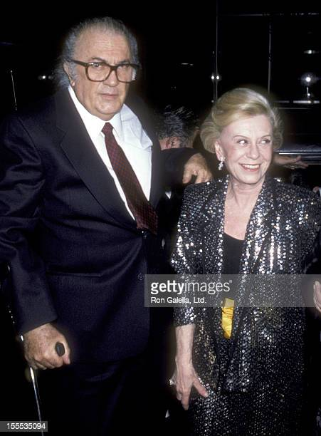 Writer/Director Federico Fellini and wife Giulietta Masina attend the Ginger e Fred New York City Premiere on March 26 1986 at The Museum of Modern...