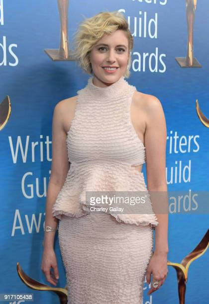 Writerdirector Greta Gerwig attends the 2018 Writers Guild Awards LA Ceremony at The Beverly Hilton Hotel on February 11 2018 in Beverly Hills...