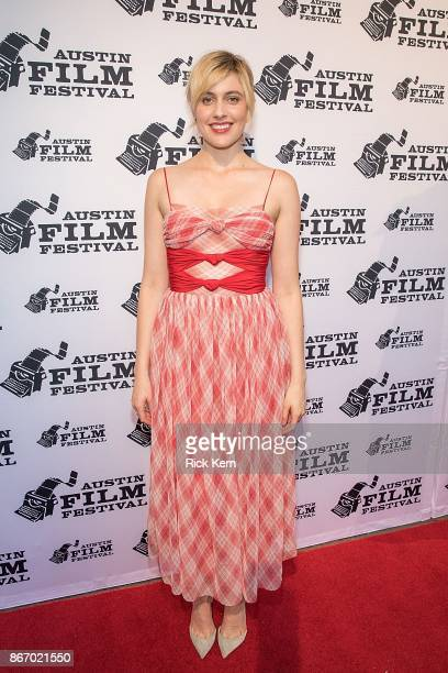 Writer/director Greta Gerwig attends the Austin Film Festival premiere of 'Lady Bird' at the Paramount Theatre on October 26 2017 in Austin Texas