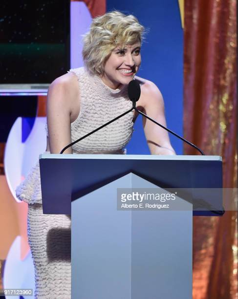 Writerdirector Greta Gerwig speaks onstage during the 2018 Writers Guild Awards LA Ceremony at The Beverly Hilton Hotel on February 11 2018 in...