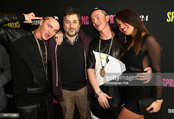 Writer/Director Harmony Korine and The ATL Twins attend the 'Spring Breakers' premiere at ArcLight Cinemas on March 14 2013 in Hollywood California