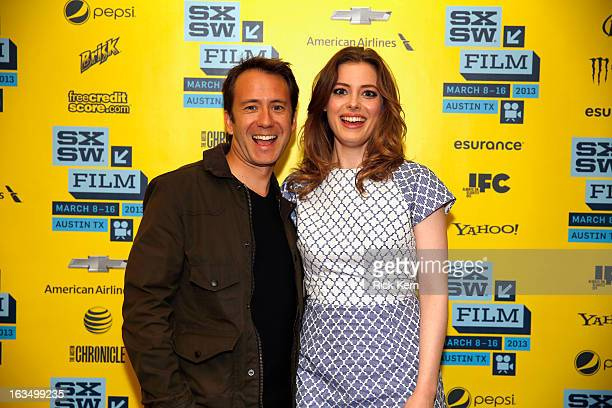 Writer/director Jacob Vaughan and actress Gillian Jacobs pose in the greenroom at the screening of Milo during the 2013 SXSW Music Film Interactive...