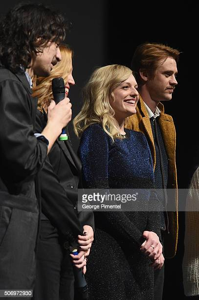 Writer/director Jason Lew producer Laura Rister and actors Elisabeth Moss and Boyd Holbrook speak onstage at the The Free World Premiere during the...