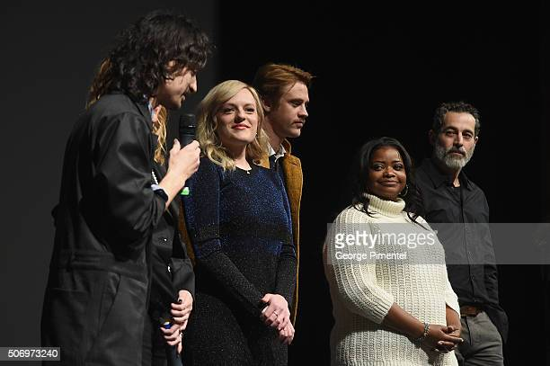 Writer/director Jason Lew producer Laura Rister and actors Elisabeth Moss Boyd Holbrook Octavia Spencer and Waleed Zuaiter speak onstage at the The...