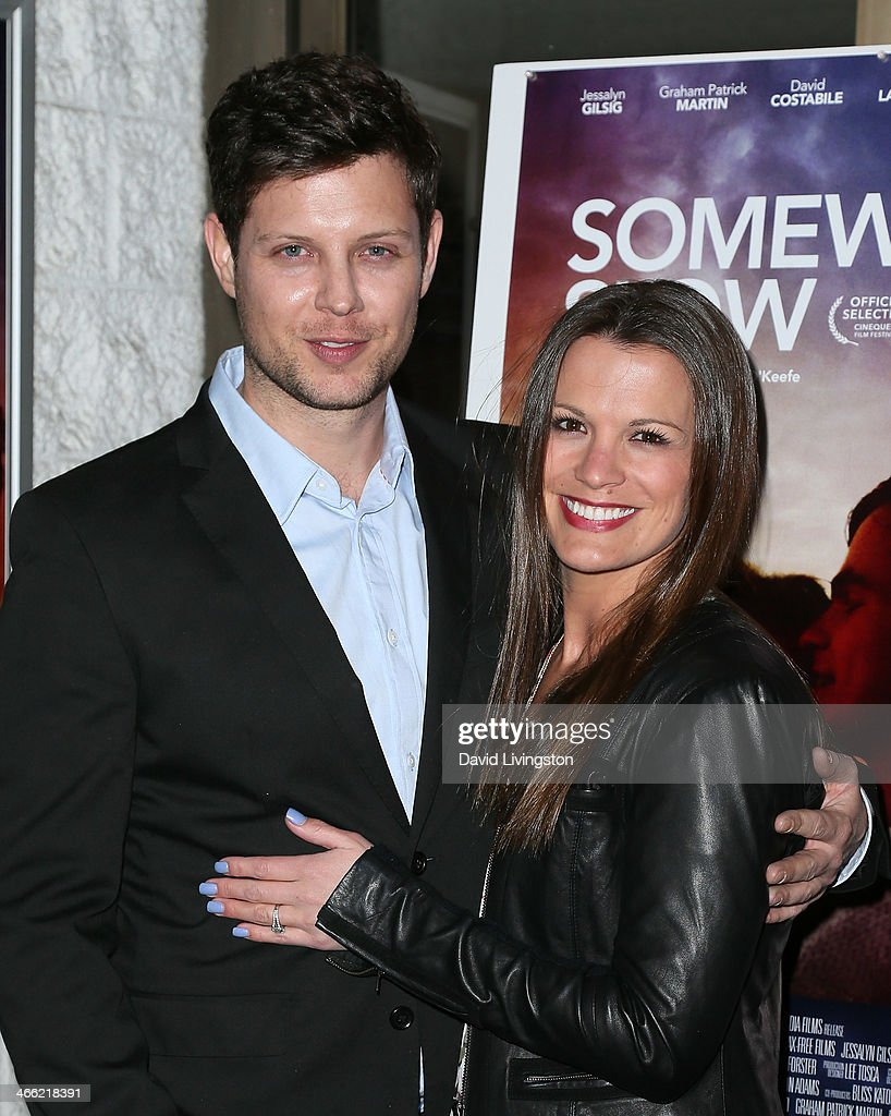 Writer/director Jeremy O'Keefe (L) and actress Melissa Claire Egan attend a screening of Logolite Entertainment & Screen Media Films' 'Somewhere Slow' at Arena Cinema Hollywood on January 31, 2014 in Hollywood, California.