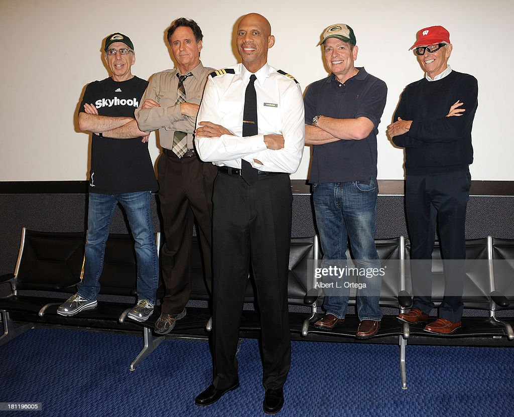 Writer/director Jerry Zucker, actor Robert Hays, actor/athlete Kareem Abdul-Jabbar, writer/director David Zucker and writer/director Jim Abrahams participate in the 'Airplane' 30th Anniversary Reunion Press Conference to announce filming of 3 new 30 second commercials for Travel Wisconsin.com held at Air Hollywood in Pacioma on September 19, 2013 in Los Angeles, California.
